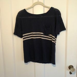 J Crew Linen Navy with White Stripes Top Size S